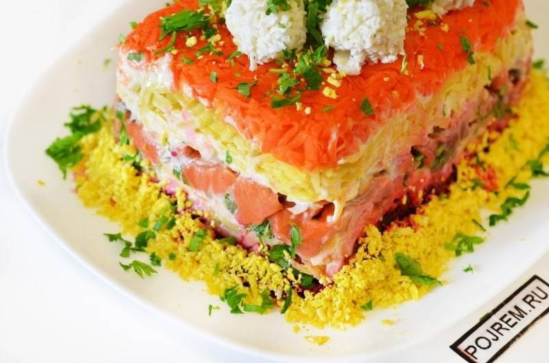 Салат с красной рыбой - рецепты с икрой, креветками, авокадо и помидорами
