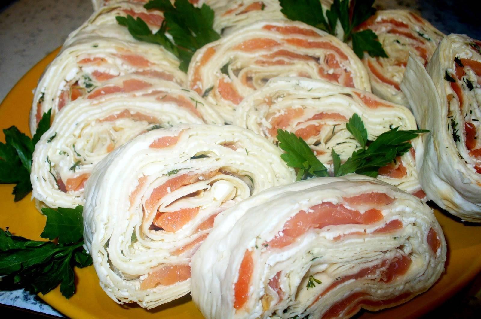 Рулет лаваш с красной рыбой с сыром рецепт с фото пошагово - 1000.menu
