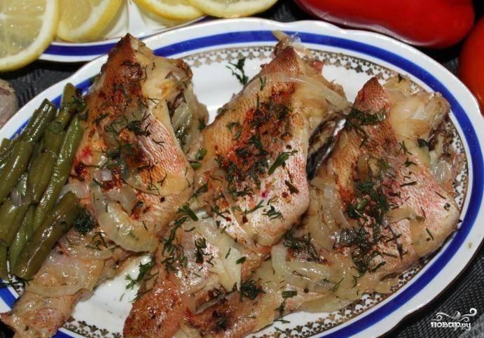 Рецепт Морской окунь, запеченный в сметане по шагам