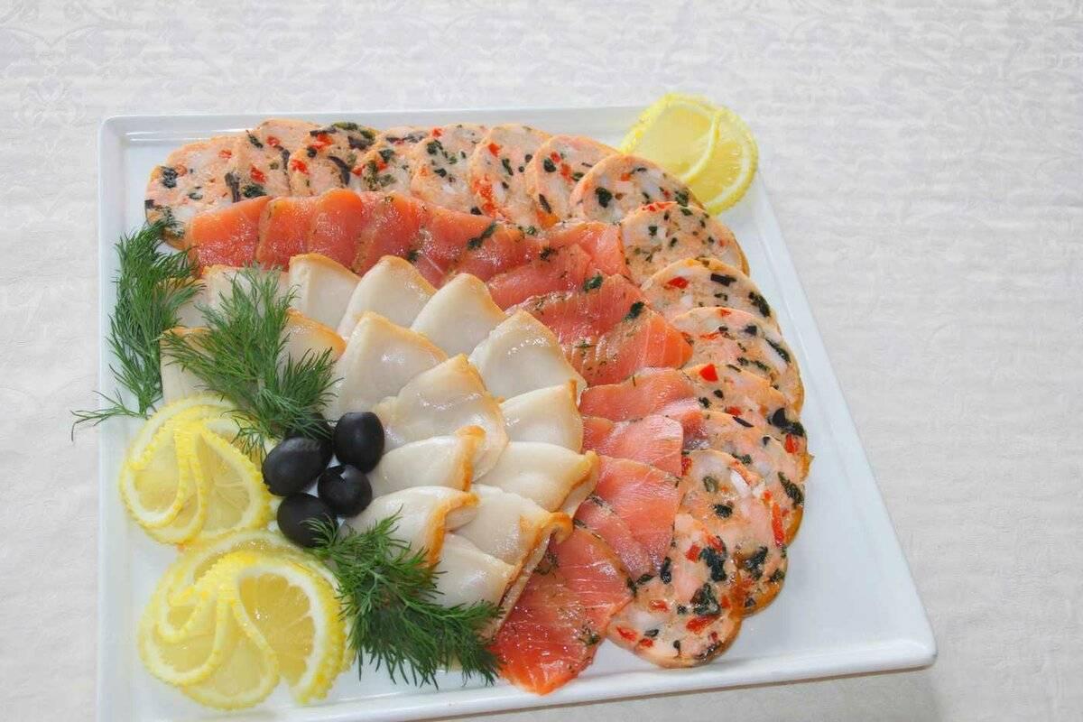 Как красиво оформить рыбные закуски, нарезки из рыбы, морепродуктов идеи фото