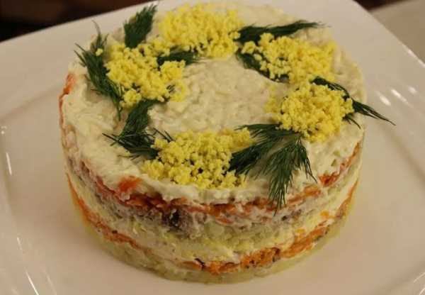 Салат мимоза классический с консервой