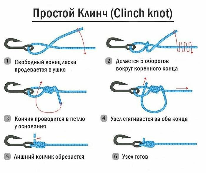 Как правильно привязать крючок к леске | видео и схемы узлов