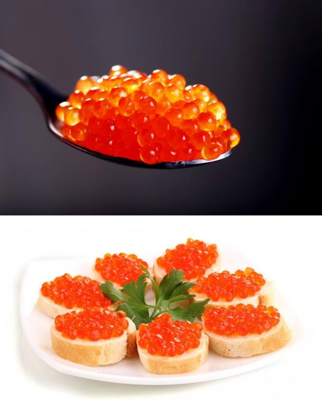 Красная икра- польза и вред, калорийность, состав бжу