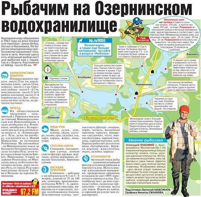 Озернинское водохранилище - всё о рыбалке на водоеме, для рыбаков города руза.