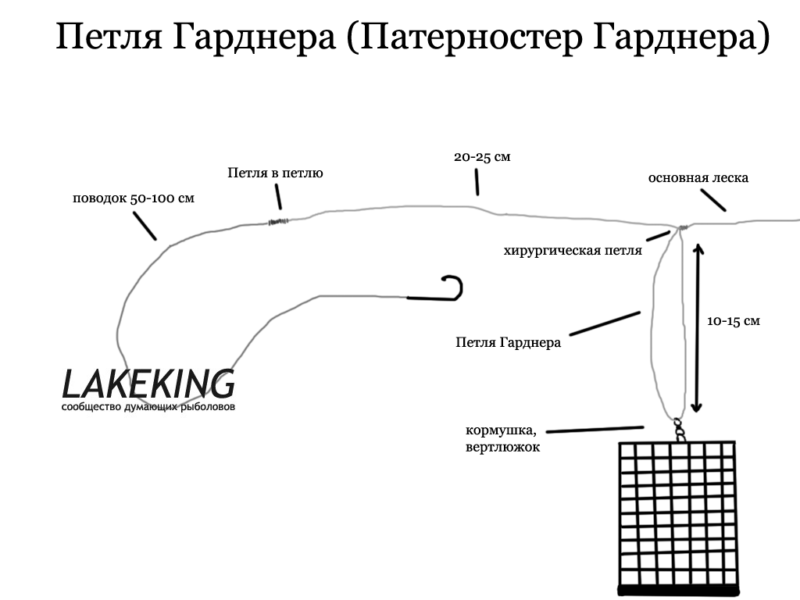 Петля гарднера-патерностер - оснастка гарднер для фидера на фото и видео