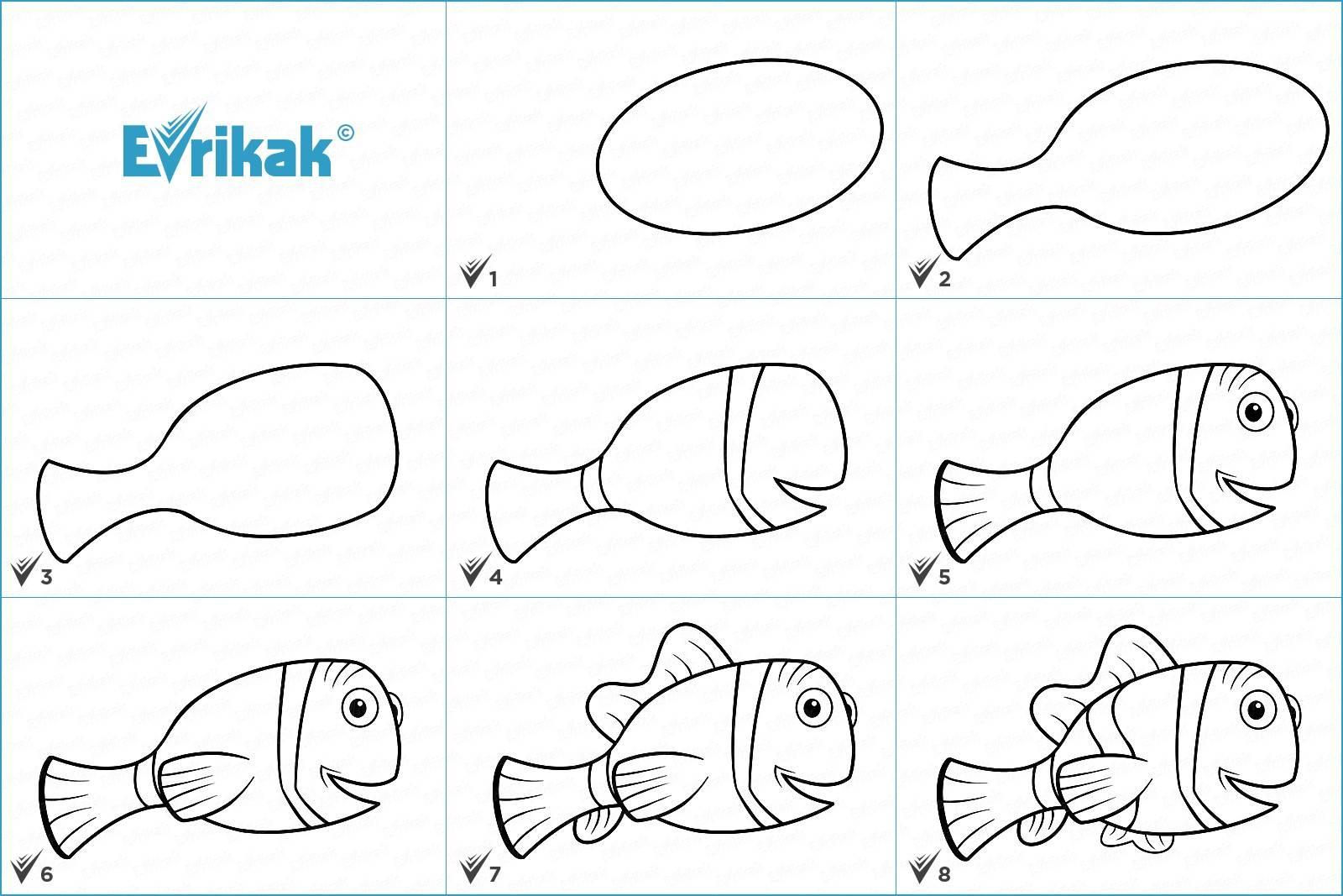 Как нарисовать рыбку карандашом поэтапно. рисование рыбки. поэтапно для детей