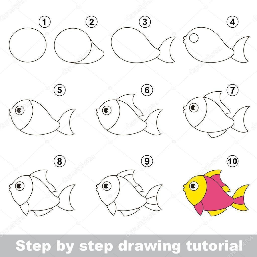 Учимся легко рисовать рыбку для детей карандашом