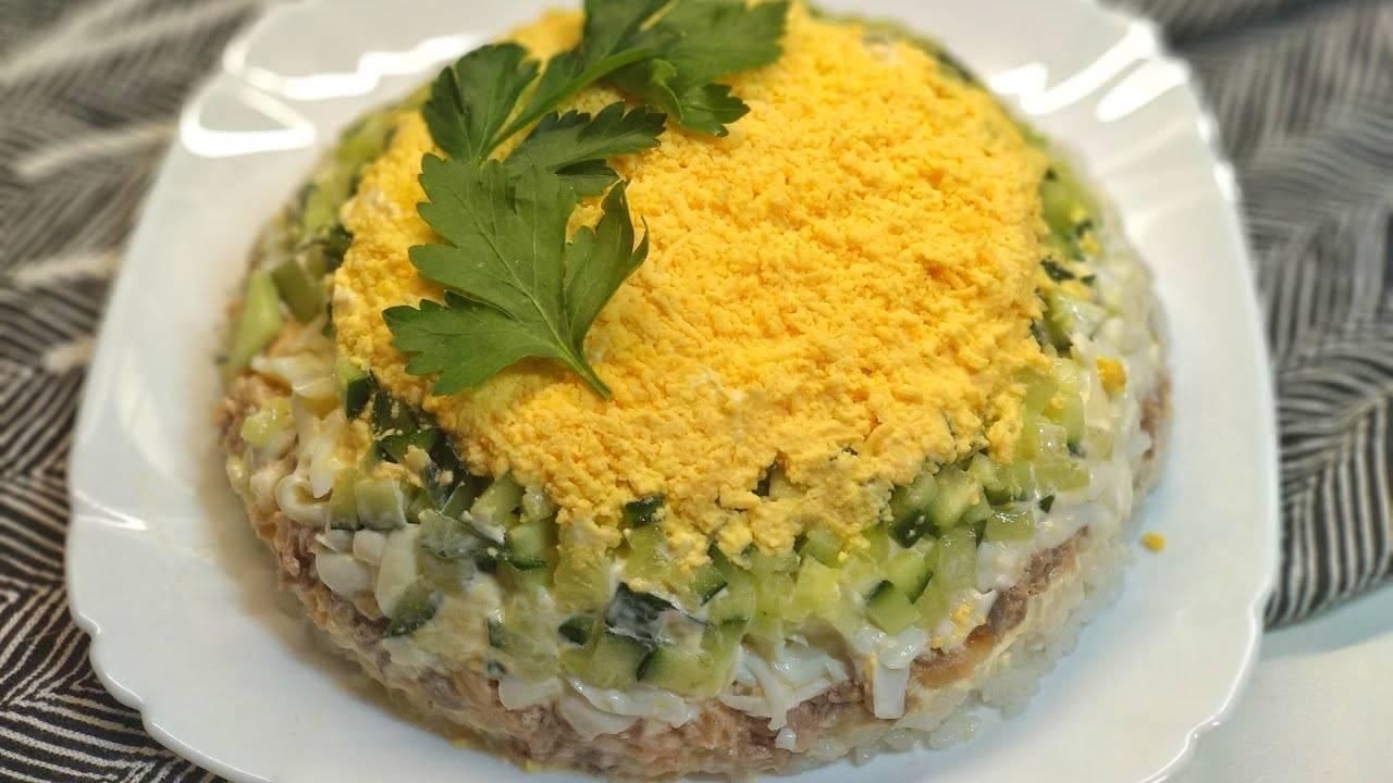 Салат с рисом и рыбными консервами - 9 пошаговых рецептов