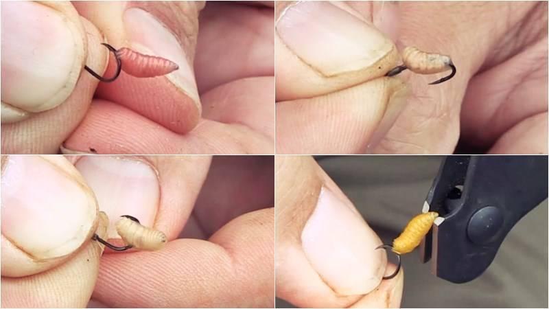Как насадить опарыша на крючок – варианты насаживания