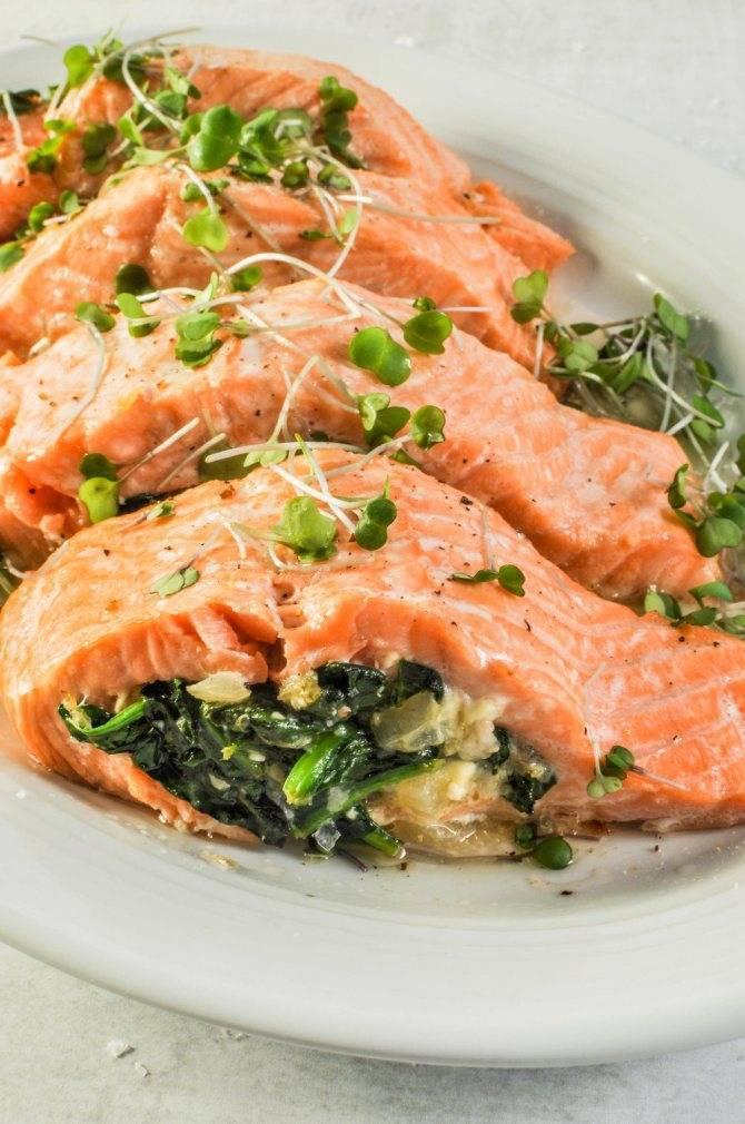 Запеченный лосось с овощами и сливками - кушаем вкусно