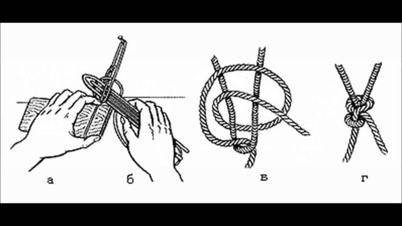 Плетение, вязание сетей, простые узлы, расчеты, начало вязания сети