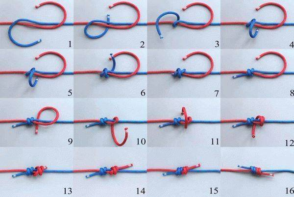 Самозатягивающийся узел для веревки, назначение, разновидности