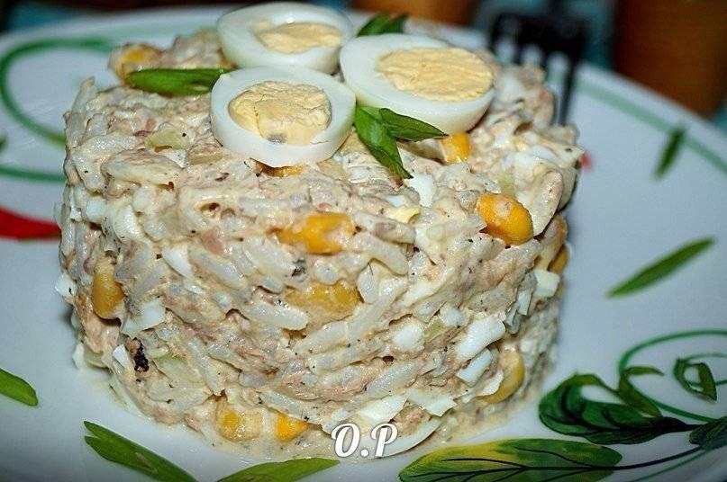 Салат с рисом и рыбными консервами - 10 пошаговых фото в рецепте