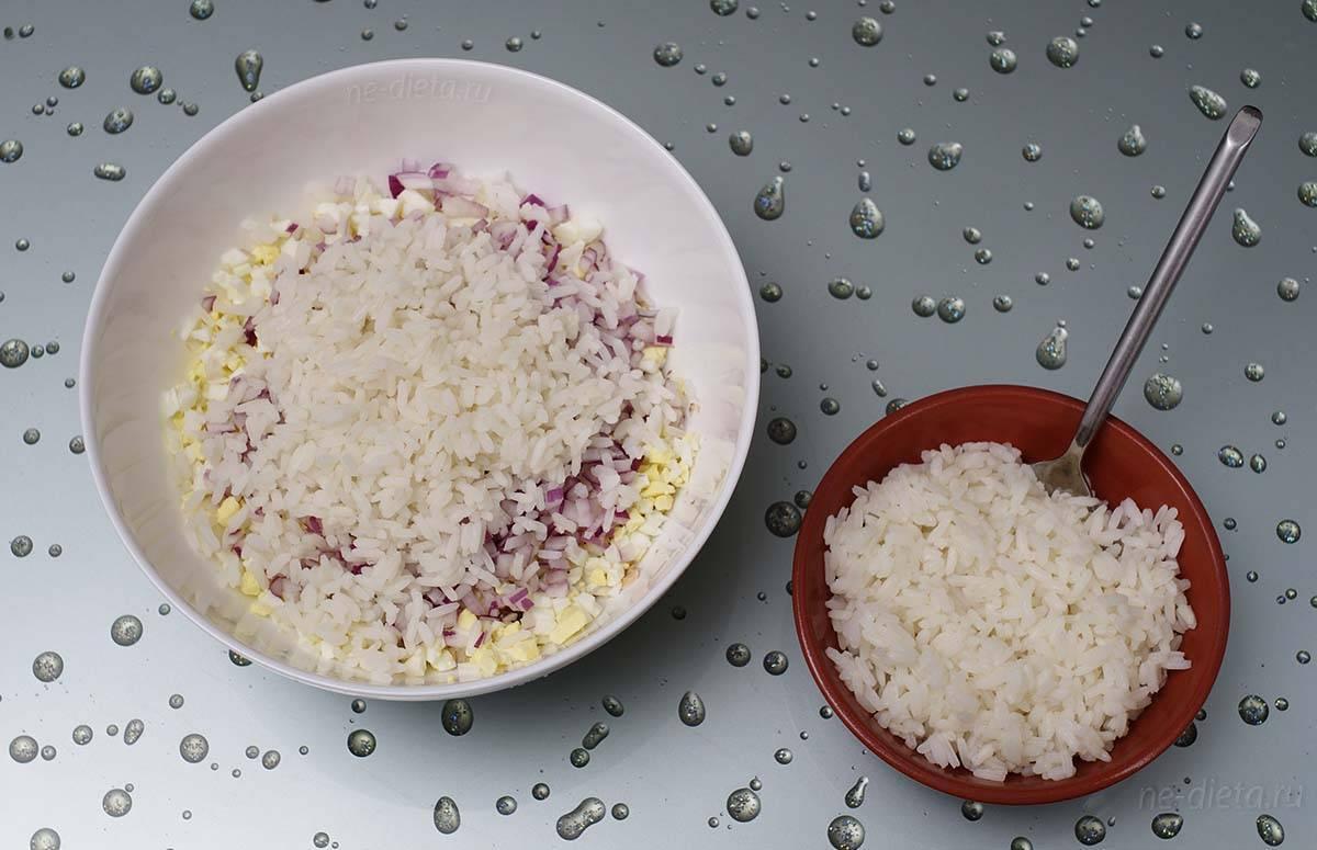 Салат из риса и рыбной консервы: пошаговый рецепт с фото