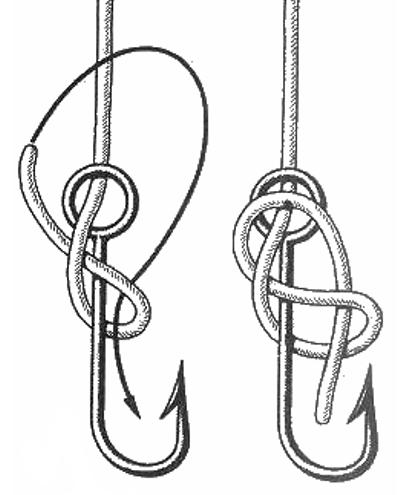 Как крючок привязать к леске