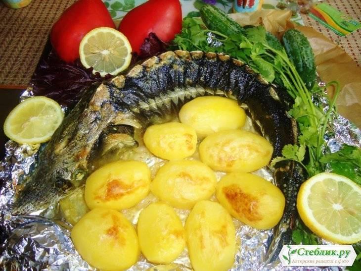 Осетр целиком, запеченный в духовке, пошаговый рецепт осетра с грибами