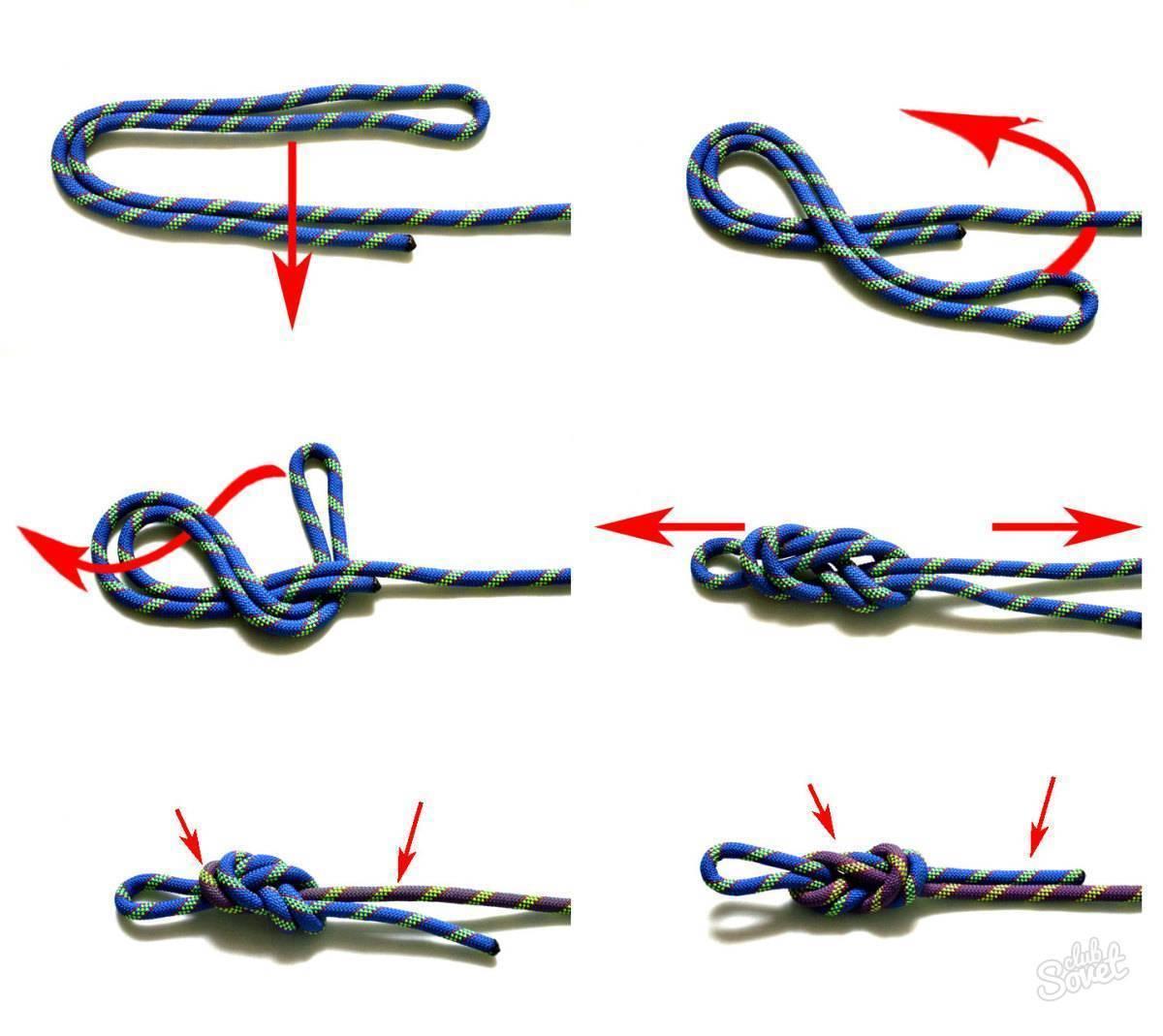 Как вязать узел восьмерку - сделать прочный двойной, крофордский и рыбацкий