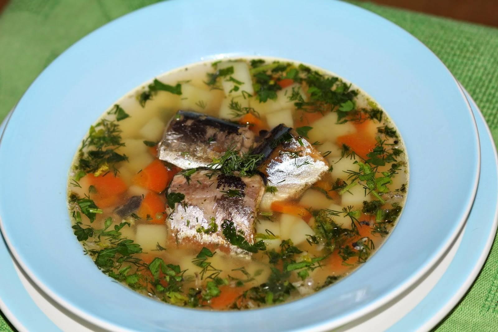 Суп из сайры на наваристом овощном бульоне с томатом и зеленью