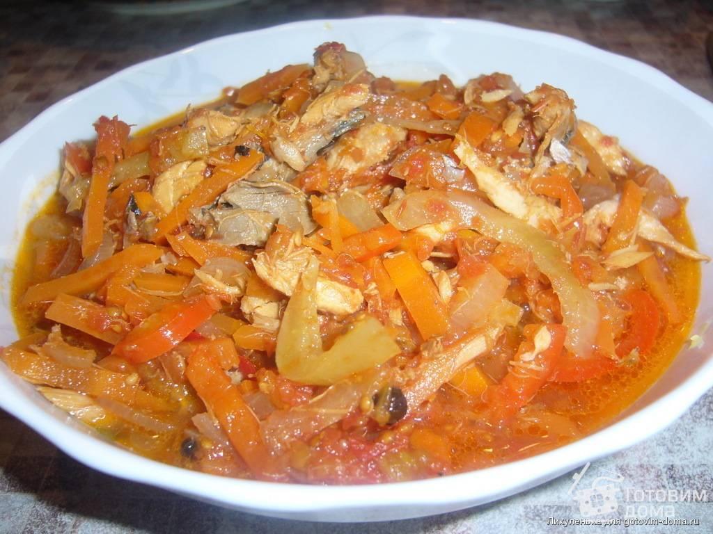 Салат из скумбрии с овощами на зиму - 6 пошаговых рецептов