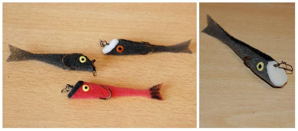 Изготовление поролоновых рыбок монтаж крючков,описание и фото