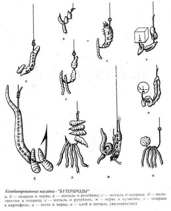 Способы насадки червя на крючок